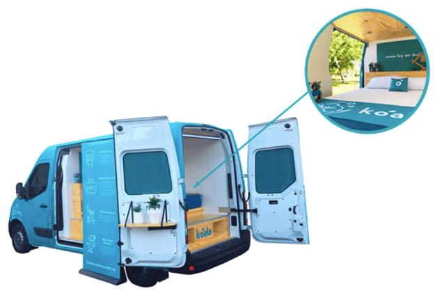 snooze cruise van with mattress in it from koala mattress company
