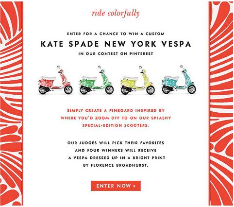イタリアのバイク会社VespaとファッションブランドKate Spadeが行ったキャンペーン。参加者はRide Colofullyという名前のピンボードを作り、自分がVespaのバイクに乗っ