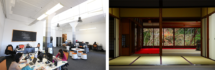 What does traditional japanese architecture have in common for Japanese office interior design