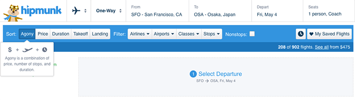 hipmunk agony filter for flight search to find best flight based on least challenges such as flight delay and duration and stopovers and transfers