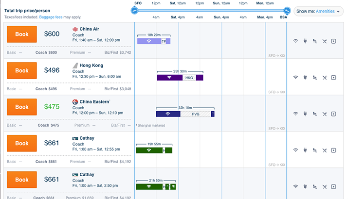 hipmunk ui ux to understand itinerary in one glance and on one screen