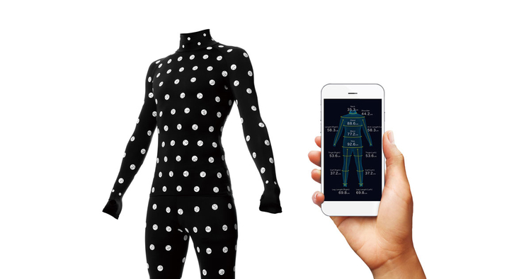 zozosuit for measuring user's perfect fit and app