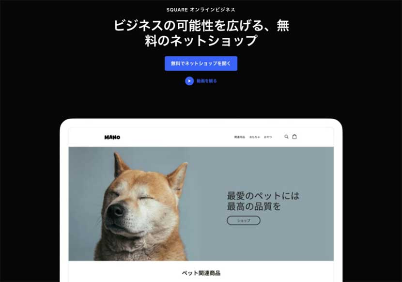 Featuring Square's website modeling a shiba puppy