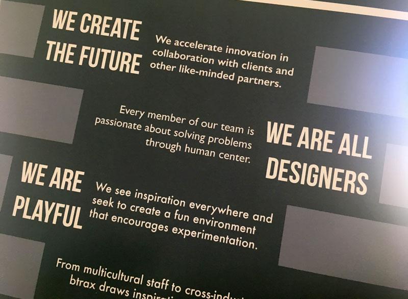 btraxのサンフランシスコオフィスに掲げられたValue Statement