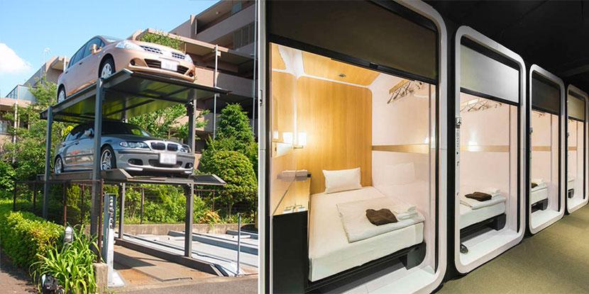 日本の機械式立体駐車場とカプセルホテル