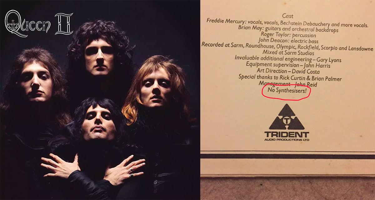 シンセは一切使ってないと明記されているQueenのアルバム